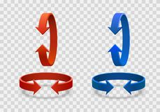 Arrow rotation 3d art info. Arrow rotation 3d art info red blue color on a transparent background. Vector illustration Royalty Free Stock Photography
