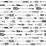 Arrow rustic seamless pattern. Hand drawn vintage vector