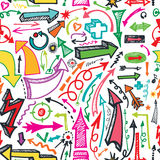 Arrow seamless pattern.Doodle vector Stock Photography