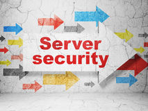 Arrow with Server Security on grunge wall Stock Photography