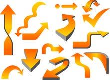 Arrow Set. Orange color shiny arrow collection design elements vector illustration