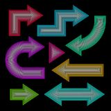 Arrow set, neon effect, vector illustration Royalty Free Stock Images