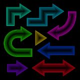 Arrow set, neon effect, vector illustration. Graphic Stock Photos