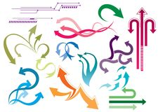 Arrow sets. Multiple arrow sets in a variety of colors, pointing in various directions Stock Illustration