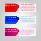 Arrow Shape banner. With 3 color red blue purple stock illustration