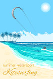 Kitesurfing summer watersport poster. Sea kite on tropical sea background. Kitesurfing summer watersport poster or flyer Stock Photography