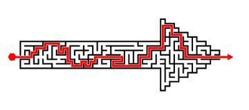 Arrow shape solved maze puzzle Royalty Free Stock Image
