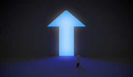 Arrow shaped door with blue light. 3d rendering of a character walking into the arrow shaped blue light Stock Photos