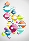 Arrow shaped food glossy icons background. Multicolored cutlery web icons background for food industry. Vector illustration layered for easy manipulation and Stock Photos