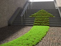 Arrow shaped grass patch Stock Photography