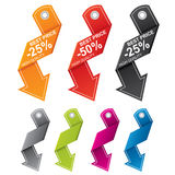 Arrow shaped price tags in different colors Royalty Free Stock Photos