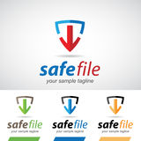 Arrow and Shield Safe Download Logo Icon Royalty Free Stock Photography