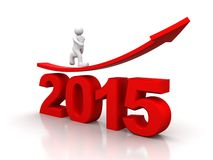 Arrow showing growth in year 2015. Red arrow going up showing growth in year 2015 Royalty Free Stock Image