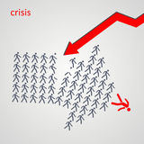 Arrow shows the way - The crowd of workers follows the team lead Stock Photography