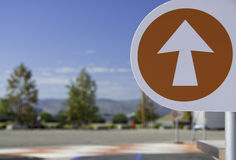 Arrow Sign. Orange Arrow Sign at Park Royalty Free Stock Photos