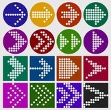 Arrow sign dots icon set. Web design elements. Simple circle and square shape internet button on light gray background. vector illustration. Each arrow is a Royalty Free Stock Photo