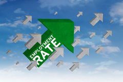 Arrow sign with employment rate text Stock Photos