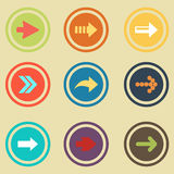 Arrow sign flat icon set. Simple internet button Royalty Free Stock Photos