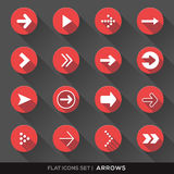 Arrow Sign Flat Icons Set. Set of Arrow Sign Flat Icons with long shadow Royalty Free Stock Photos