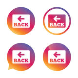 Arrow sign icon. Back button. Navigation symbol. Stock Images