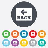 Arrow sign icon. Back button. Navigation symbol Stock Photography