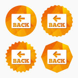 Arrow sign icon. Back button. Navigation symbol. Royalty Free Stock Images