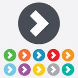 Arrow sign icon. Next button. Navigation symbol. Round colourful 11 buttons vector illustration