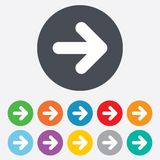 Arrow sign icon. Next button. Navigation symbol. Round colourful 11 buttons stock illustration