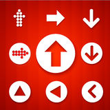 Arrow sign icon set. Contemporary modern style. Arrow sign icon set. Simple circle shape internet button on red background. Contemporary modern style. Vector Royalty Free Stock Images