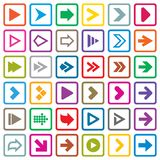 Arrow sign icon set. Internet buttons on white. Arrow sign icon set. Simple shape internet buttons on white. Flat icons for Web and Mobile Applications. 36 Stock Image
