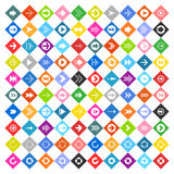 Arrow sign icon set on rhomb shapes Stock Photo