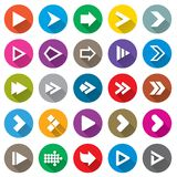 Arrow sign icon set. Simple circle shape buttons. Arrow sign icon set. Simple circle shape internet buttons on white. Flat icons for Web and Mobile Applications Royalty Free Stock Images