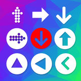 Arrow sign icon set. Simple circle shape on colorful background. Arrow sign icon set. Simple circle shape internet button on abstract colorful triangle Stock Photos