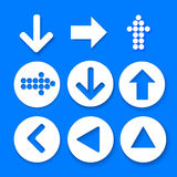 Arrow sign icon set. Simple circle shape internet button. Arrow sign icon set. Simple circle shape internet button on abstract blue background. Contemporary Stock Photos