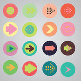 Arrow sign icon set. Simple circle shape internet button on gray background. Contemporary modern style Stock Photo