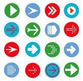 Arrow sign icon set. Simple circle shape internet button Stock Photos