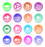 Arrow sign icon set. Simple circle shape internet button on whit. Arrow sign icon set. Simple circle shape internet button with shadows on white background Royalty Free Stock Images