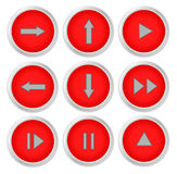 Arrow sign icon set. Simple circle shape red internet button on white background Stock Photos