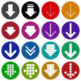 Arrow sign icon set-  vector illustration. Arrow sign colored icon set, web design elements. Simple circle shape internet button on white background -  vector Stock Image