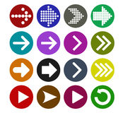 Arrow sign icon set. Vector illustration web design elements. Simple circle shape internet button on white background Royalty Free Stock Photo