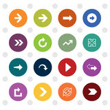 Arrow sign icons, colored circle shape Stock Image