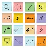 Arrow and sign icons sticky note paper. Set of 16 arrow icons in colorful sticky note papers Royalty Free Stock Images