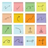 Arrow and sign icons sticky note paper. Set of 16 arrow icons in colorful sticky note papers Stock Images