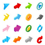 Arrow sign isometric 3d icons. Set  on white background Royalty Free Stock Photo