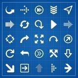 Arrow sign pack on blueprint. Vector elements Royalty Free Stock Photos
