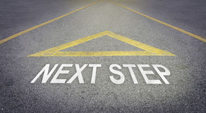 Arrow sign pointing to the forward road for next step Stock Image