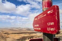 Arrow sign pointing to Santa Ines Valley in Fuerteventura island Stock Photo