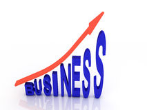 Arrow sign pointing up. With business word 3d illustration Stock Photography