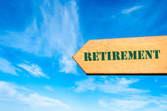 Arrow sign with Retirement message Royalty Free Stock Image