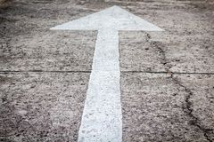 Arrow signs as road markings. On a street Royalty Free Stock Photo